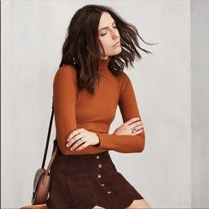 Burnt Orange Mock Neck Ribbed Turtleneck Sweater